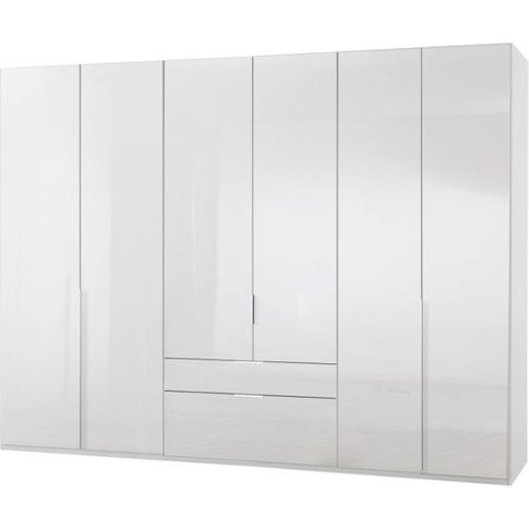 New Xork 6 Doors Wooden Wardrobe In High Gloss White