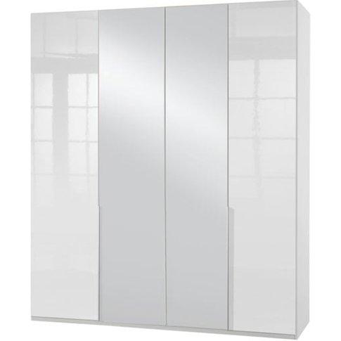 New Xork Mirrored Wardrobe In High Gloss White 4 Doors