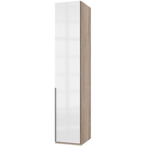 New Xork Tall Wooden Wardrobe In High Gloss White An...