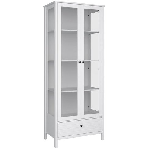 New York Display Cabinet In White With 2 Doors And 1...