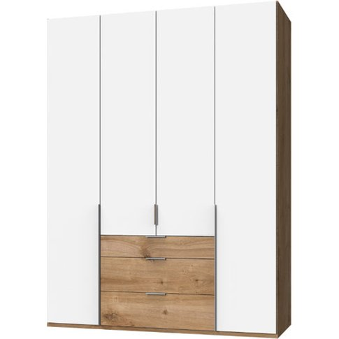 New York Tall Wooden 4 Doors Wardrobe In White And P...