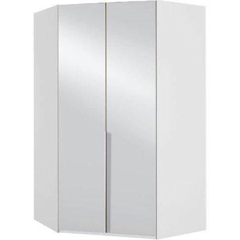 New Zork Tall Mirrored Corner Wardrobe In Gloss Grey...