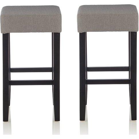 Newark Bar Stools In Light Grey Fabric And Black Leg...