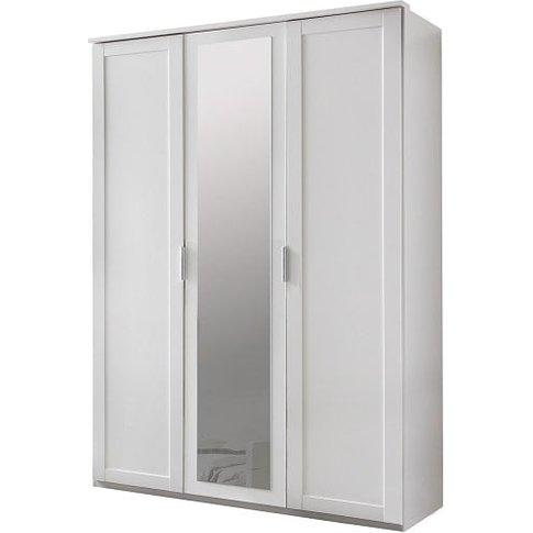 Newport Mirrored Wardrobe In Alpine White With 3 Doors