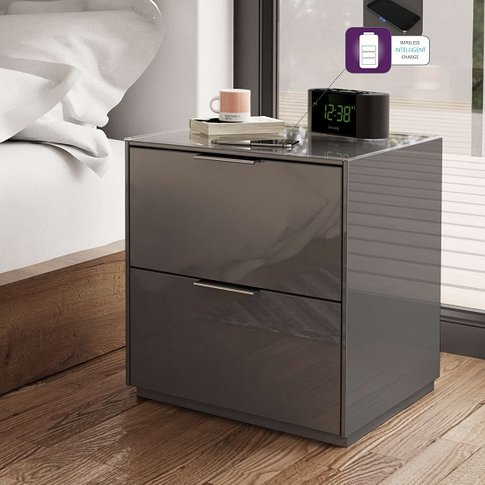 Nexus Bedside Cabinet In Grey High Gloss With Two Dr...