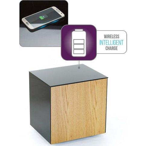Nexus Glass Lamp Table In Black And Oak With One Door