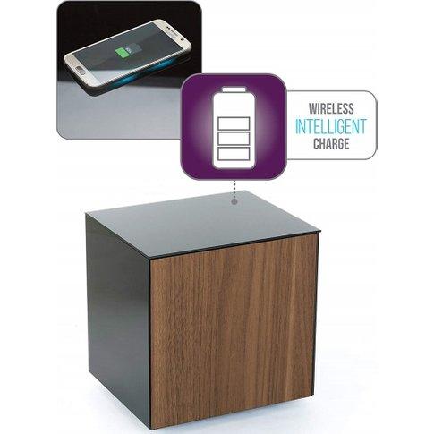 Nexus Glass Lamp Table In Grey And Walnut With One Door