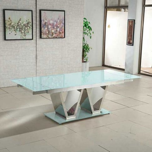 Nico Extending Glass Dining Table In White With Chro...