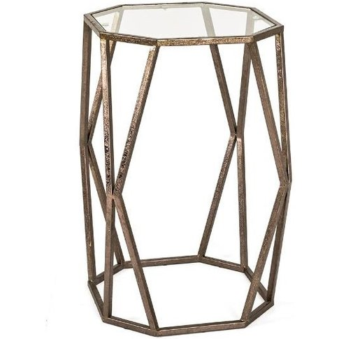 Nicole Glass Side Table In Clear With Antique Bronze...