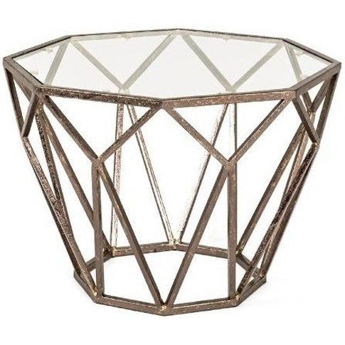Nicole Glass Side Table Octagonal With Antique Bronz...
