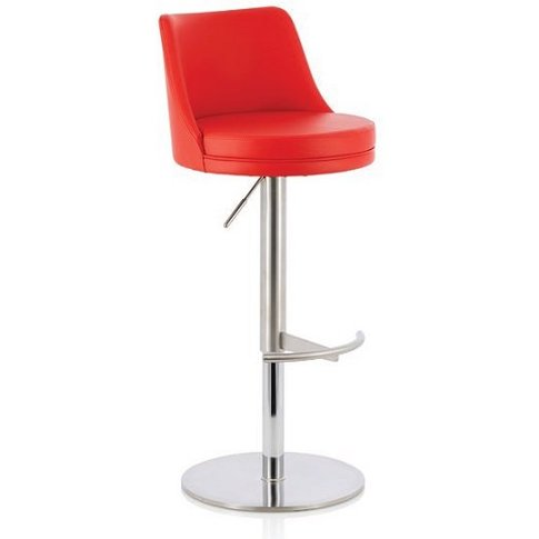 Niven Bar Stool In Red Faux Leather And Stainless St...