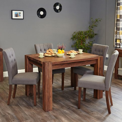 Norden Dining Table In Walnut With 6 Slate Novian Ch...