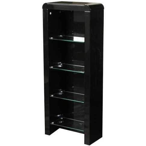 Norset CD DVD Storage Unit In Black Gloss With 4 Gla...
