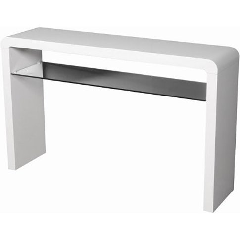 Norset Large Console Table In White Gloss With 1 Gla...