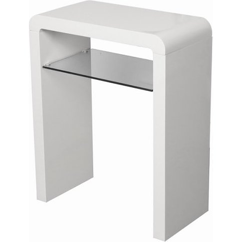 Norset Small Console Table In White Gloss With 1 Gla...