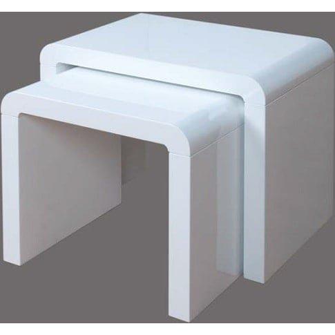 Norset Modern Set Of 2 Nesting Tables In White Gloss