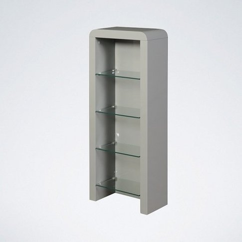 Norset Cd Dvd Storage Unit In Grey Gloss With 4 Glas...