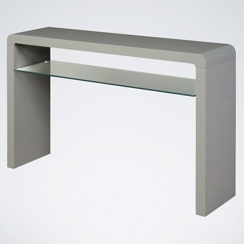 Norset Large Console Table In Grey Gloss With 1 Glas...