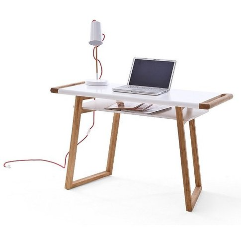 Nortis Computer Desk Rectangular In White And Oak Wi...