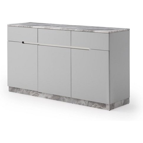 Nouvaro Marble Top Sideboard In Grey Paper With Wood...