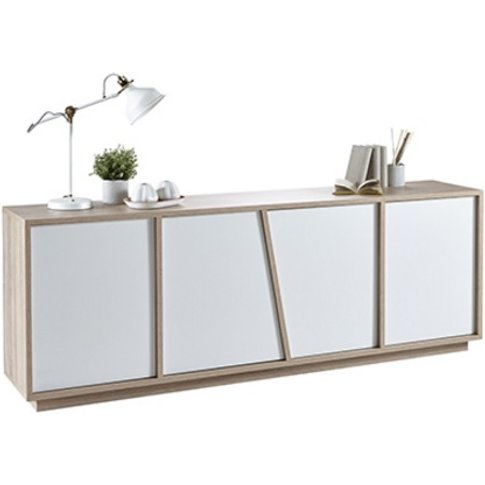 Nova Sideboard In Brushed Oak And White Pearl With 4...