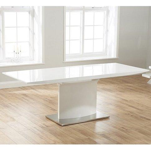 Novello Extendable Pedestal Dining Table In White High Gloss
