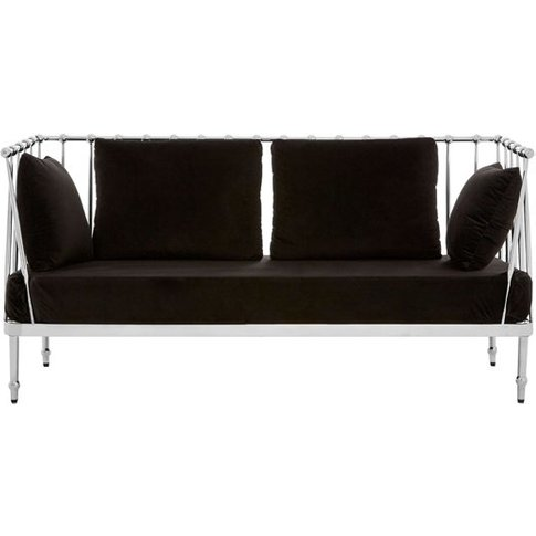 Kurhah 2 Seater Sofa In Black With Silver Finish Tap...