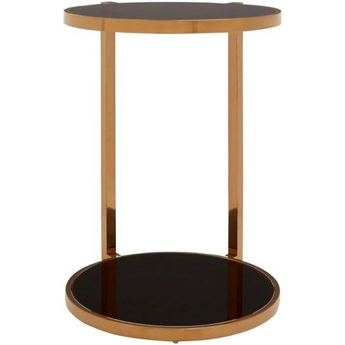 Novo 2 Tier Side Table In Rose Gold With Black Glass...