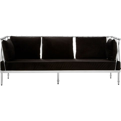Kurhah 3 Seater Sofa In Black With Silver Finish Tap...