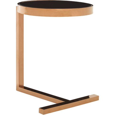 Novo Glass Side Table In Rose Gold With T-Shaped Base