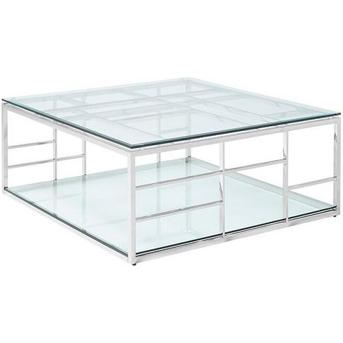 Nowak Glass Coffee Table Square In Clear With Silver...