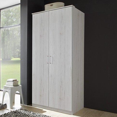 Octavia Contemporary Wardrobe In White Oak With 2 Doors