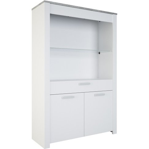 Odelia Display Cabinet In Pearl White And Woodcorn C...