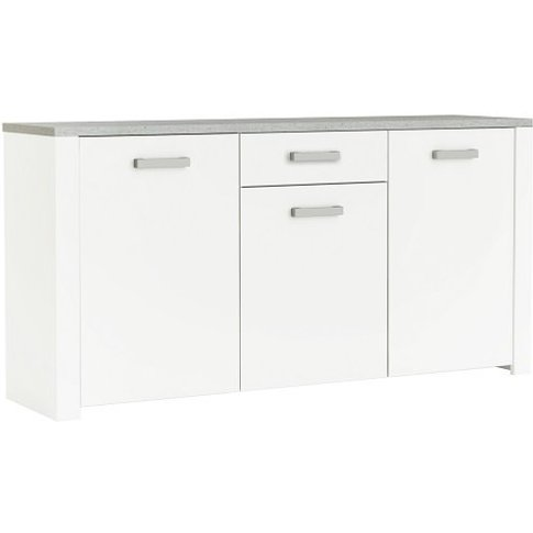 Odelia Wooden Sideboard In Pearl White And Woodcorn