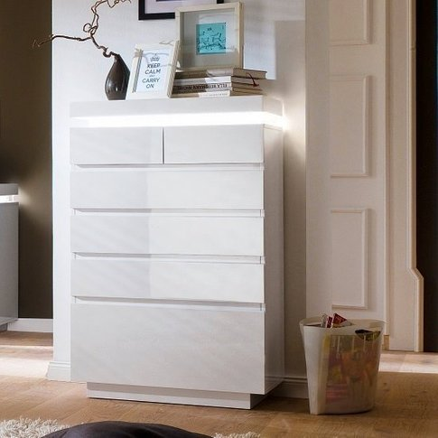Odessa Sideboard Chest of Drawers in High Gloss Whit...