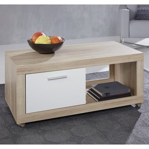 Odile Wooden TV Stand In Sägerau Oak And White With...