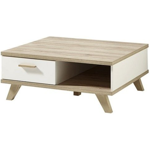 Ohio Wooden Coffee Table In White And Sanremo Oak