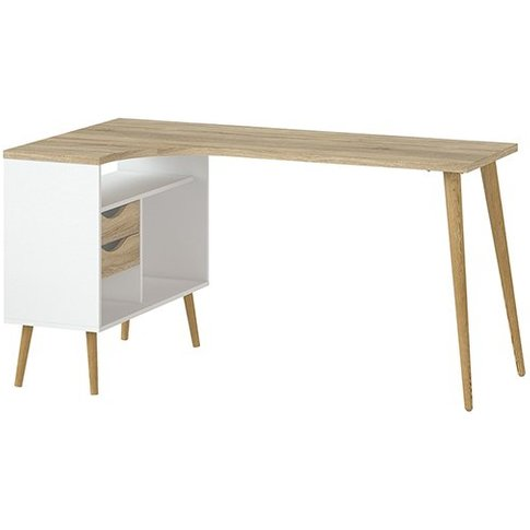 Oklo 2 Drawers Computer Desk In White And Oak
