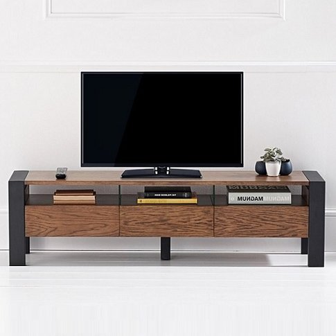 Olsen Tv Stand In Dark Oak And Brushed Stainless Steel