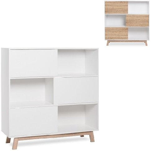 Optra Bookcase In Reversible White And Oak With 3 Sl...