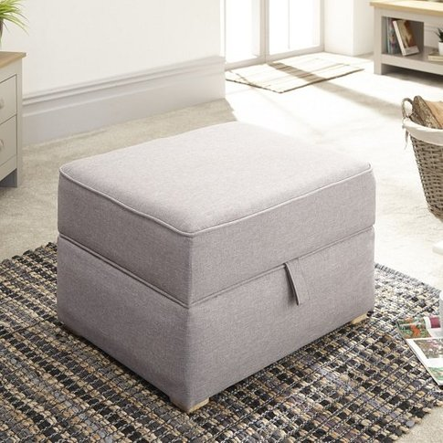 Orbis Fabric Storage Foot Stool Square In Light Grey...