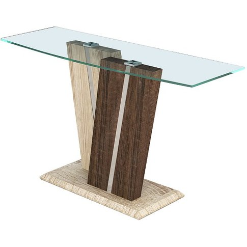 Oreo Glass Console Table In Clear With Light And Dar...