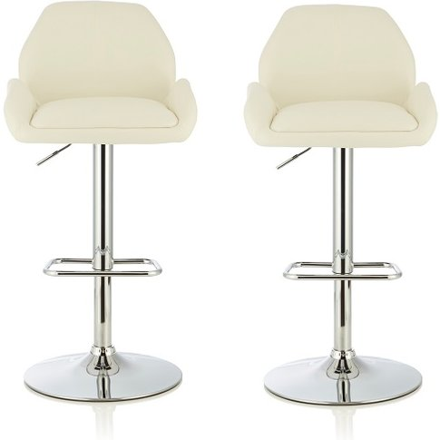 Ormond Bar Stool In White Faux Leather And Chrome Ba...