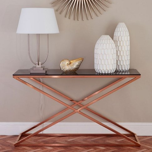 Orson Glass Console Table In Smoked Amber With Gold ...