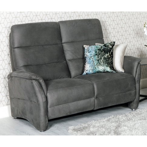 Oslo Fabric Upholstered Fixed 2 Seater Sofa In Grey