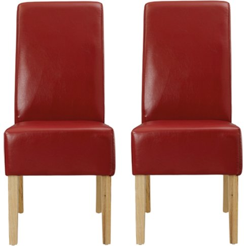 Padstow Red Finish Dining Chairs In Pair