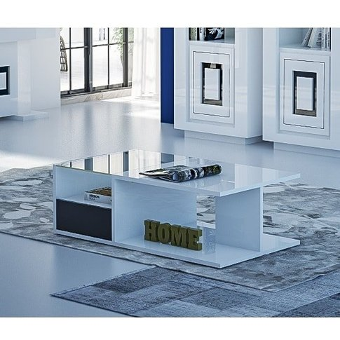 Padua Coffee Table Rectangular In Glossy White Black...