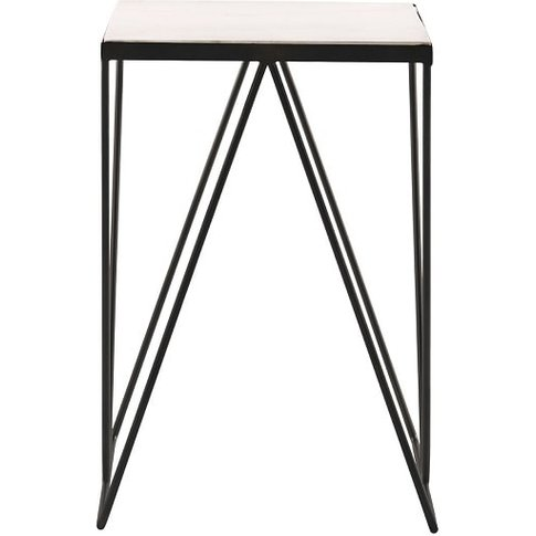 Parisian Square Side Table In Marble Top With Black ...