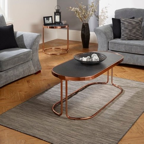 Parma Glass Coffee Table Stone Effect With Rose Gold...