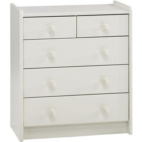 Pathos Childrens Chest Of Drawers In White With 5 Dr...